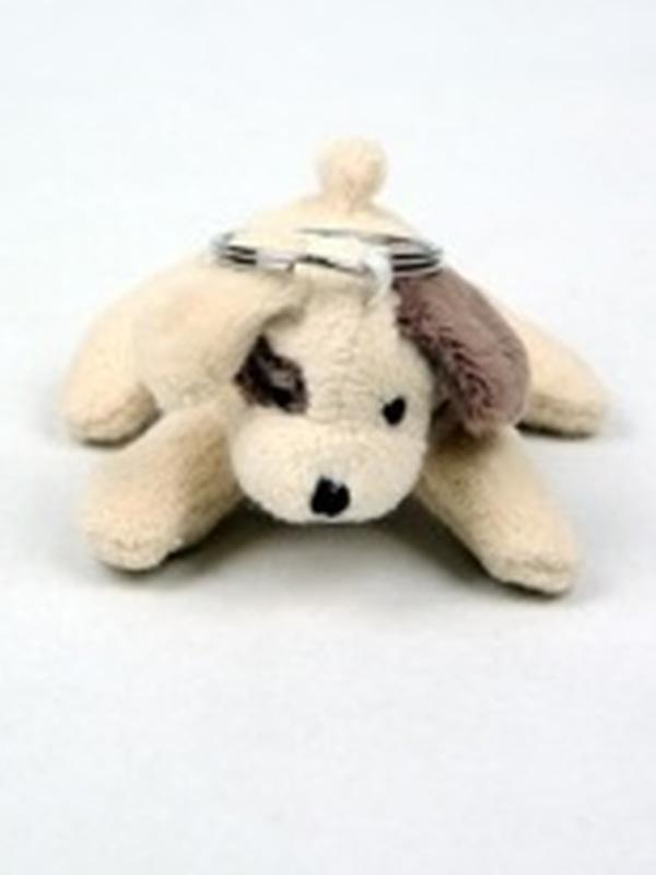 sleutelhanger hond pluche beige-bruin oor