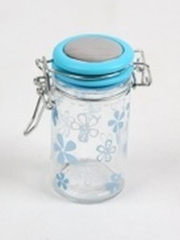 Cilinder Glas Blauw Klein Bloem H 9 x B 4,5 cm
