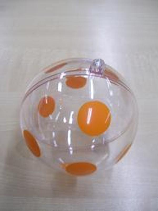Plexi Bol Helder Oranje Stippen 5,5cm