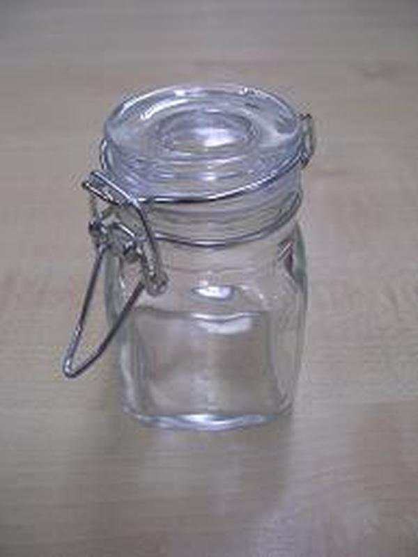 Glazen Vierkant Klikstop Potje 8cl / B 4,5 x H 8cm