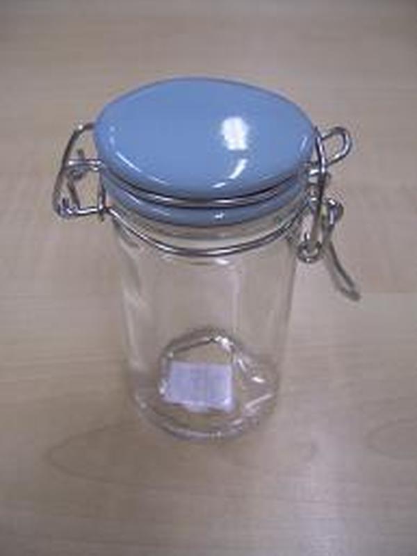 Cilinder Glas Klikstop Licht Blauw deksel 6cl