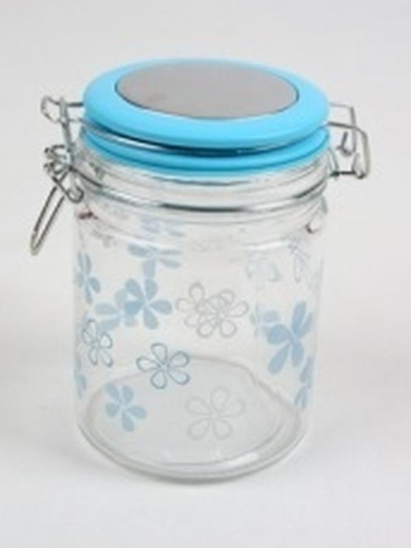 Cilinder Glas Blauw Groot Bloem H 14,5 x B 9,5 cm