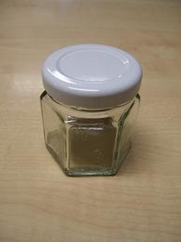 Confituur Potje met wit deksel zeshoek 45 ml