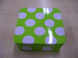 Blik Doos Lime Witte Stippen 16,5x16,5 cm