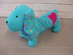 Patchwork Hond 55cm Azur