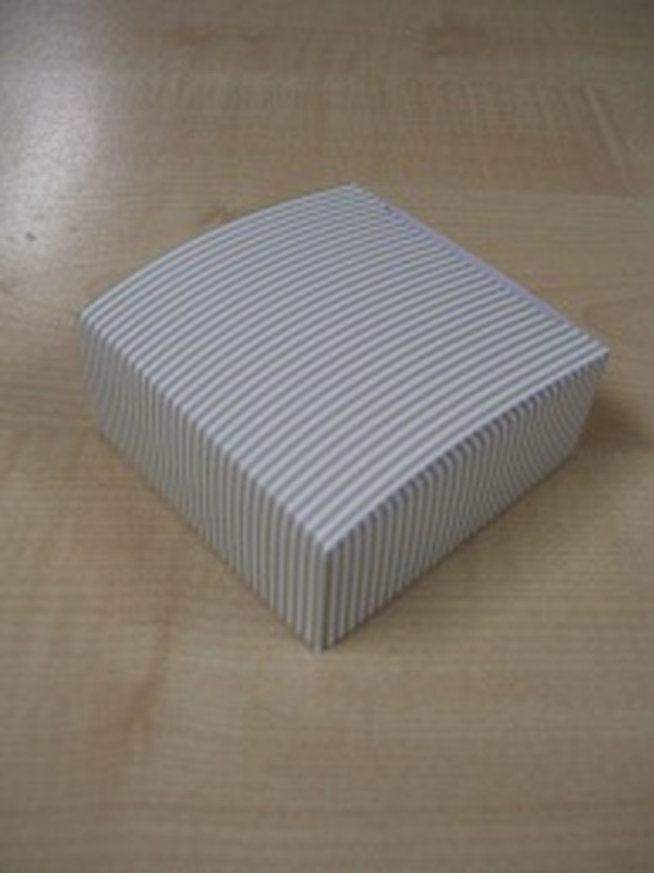 Patchwork Vierkant Plat Doosje Beige-Wit strepen