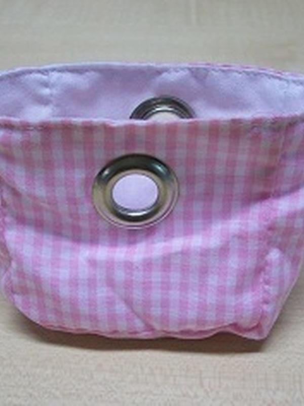 Zakje Licht Roze Geruit met ijzeren Ring