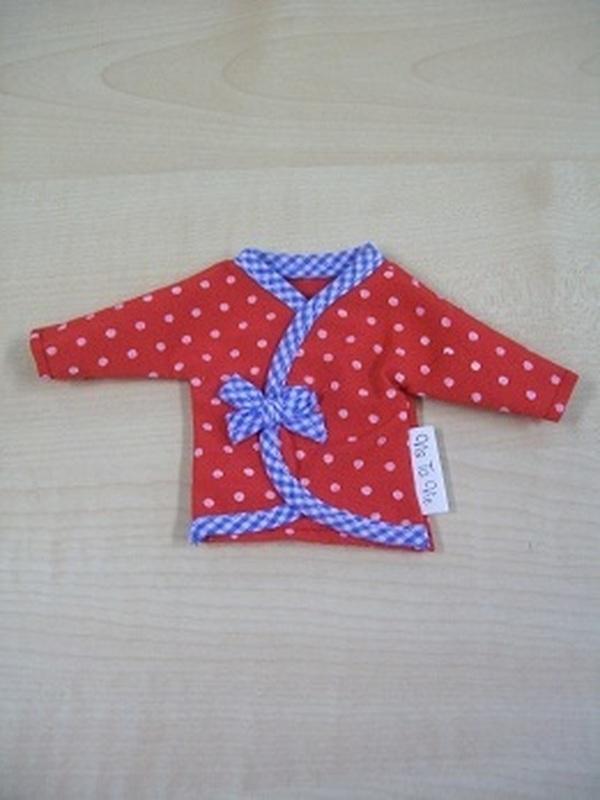 Onderhemdje Rood met Witte bolletjes en blauw rand