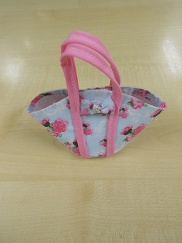 Handtasje Blauw + Roze Roosjes