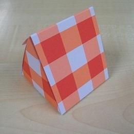 Karton Driehoek Rood Ruitpatroon