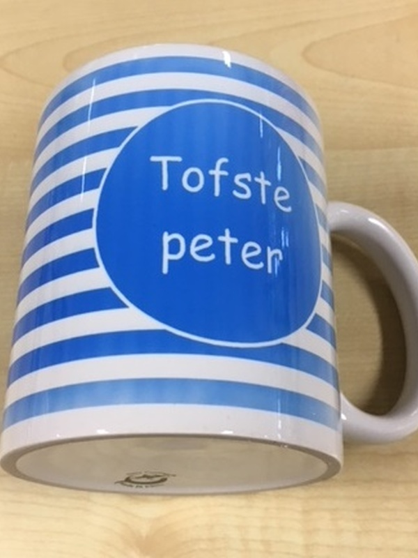 Mok Tofste Peter blauwe streep
