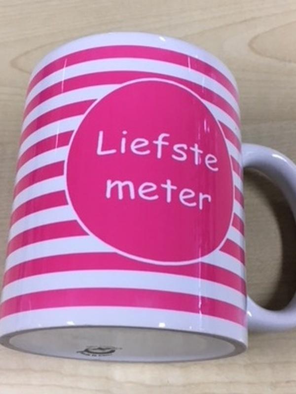Mok Liefste Meter Roze streep