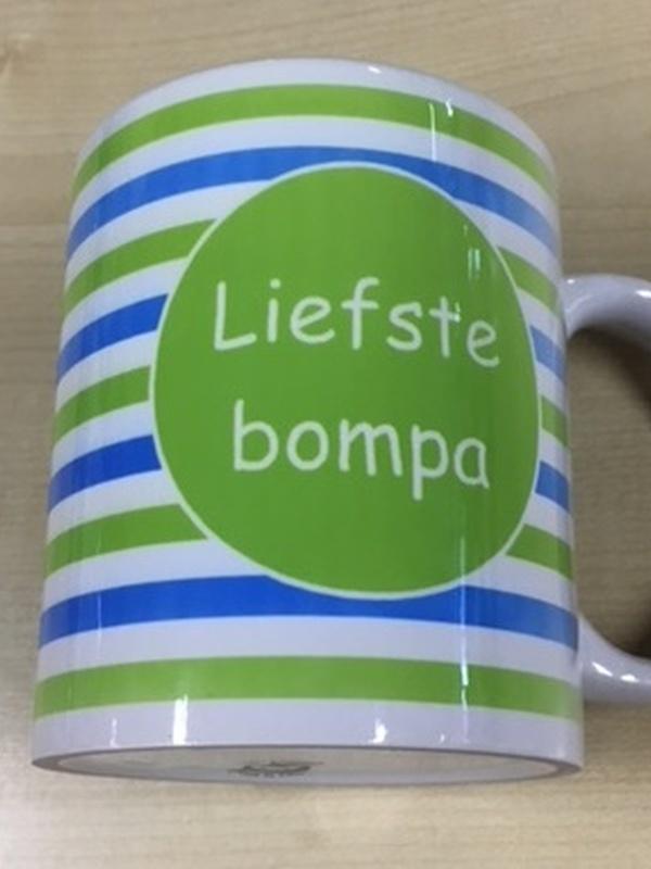 Mok Liefste Bompa groen - blauwe streep