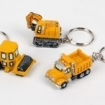Bouwmachines sleutelhanger geel per stuk