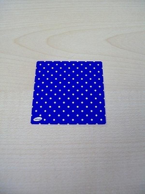 Naamkaartje Vierkant KoningsBlauw + Witte Stippen