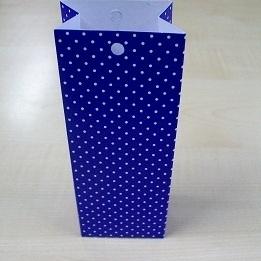 Karton Hoog Doosje Koningsblauw + Witte Stippen