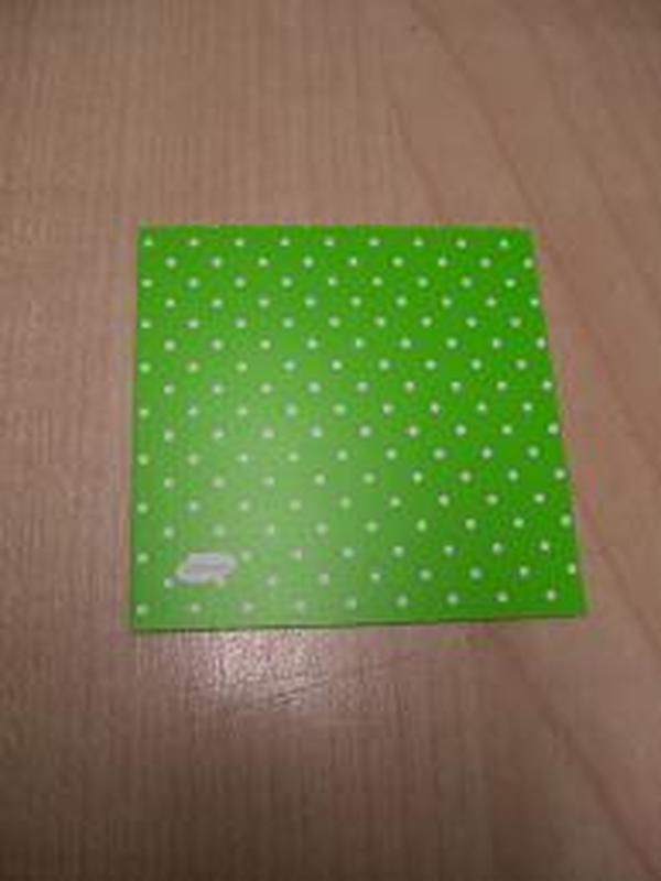 Naamkaartje Vierkant Groen + Witte Stippen