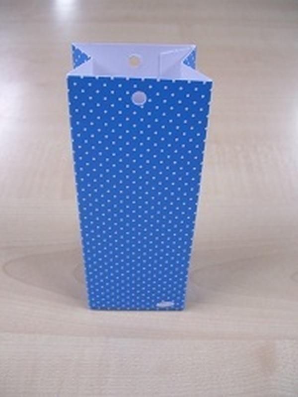Karton Hoog Doosje blauw + Witte Stippen