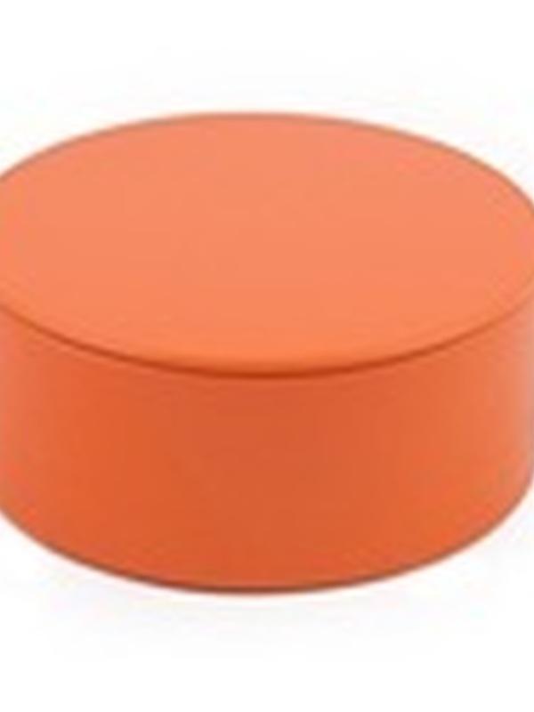 Plat Rond Blikje met deksel Oranje 4,5 x 8,3 cm