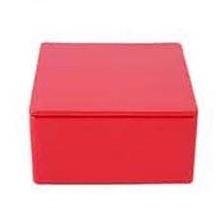 Plat Viekant Blikje met deksel Rood 7.3x3.5cm