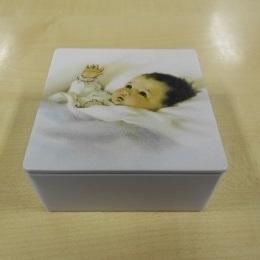 Plat Viekant Blikje met deksel Wit + Baby