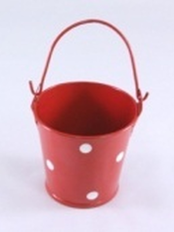Emmertje ijzer Rood + Witte Stippen Klein 5,5 cm