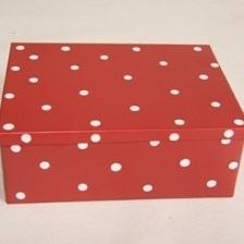 Rood Blik + Witte Stippen Groot H7,5xL19xB14