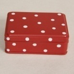 Rood Blik + Witte Stippen H3,5xL10,5xB7,5cm