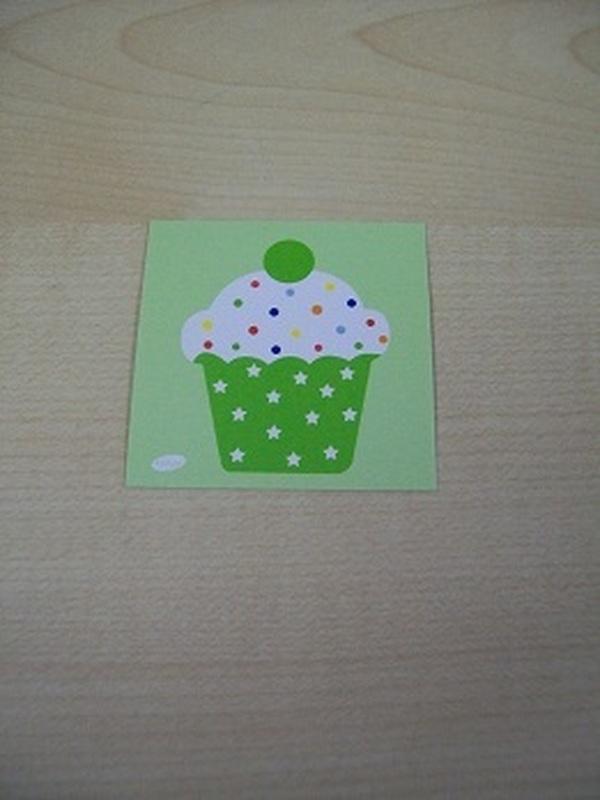 Naamkaartje Cupcakes Groen