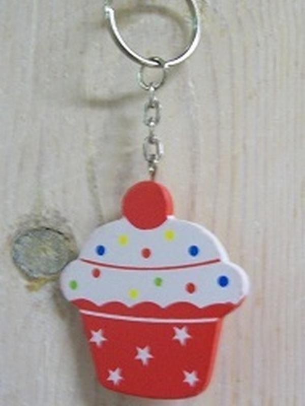 Cupcakes Sleutelhanger Plat Rood