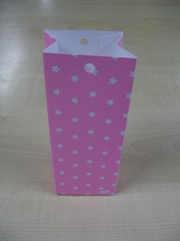 Karton Hoog Zakje Licht Roze met Witte Sterren