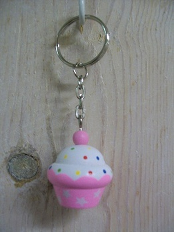 Cupcakes Sleutelhanger Rond licht Roze