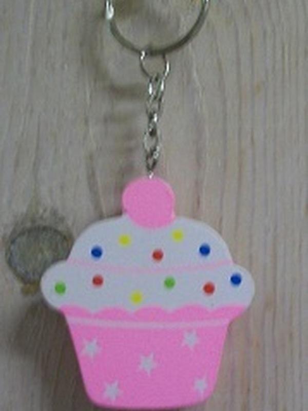 Cupcakes Sleutelhanger Plat Licht Roze