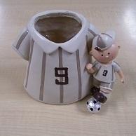 Voetbal Pennenpot Wit met beige strepen