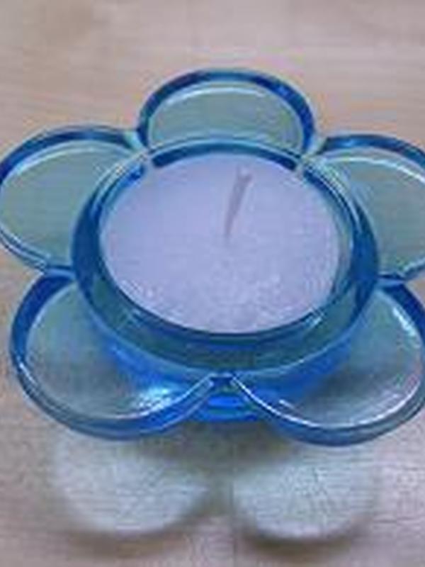 Theelicht Bloem Glas Blauw